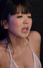Asian Lingerie Squirting - Riisa Minami gets vibrator on slit and cum on face and on boobs