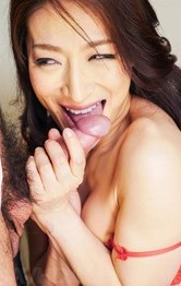 Sexy Shaved Asians Lingerie - Marina Matsumoto squeezes big tits while sucking and licking dick