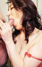 Asian Bikini Lingerie - Marina Matsumoto squeezes big tits while sucking and licking dick