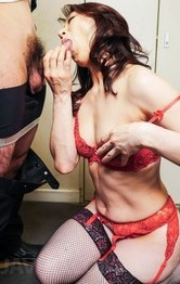 Hot Lingerie Mini Skirt - Marina Matsumoto plays with her boobs while giving fine blowjob