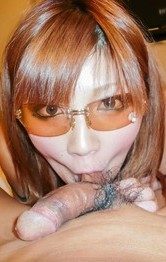 Hot Sexy Asian Lingerie Videos - Mariko wears sun glasses while licking balls and rides woody