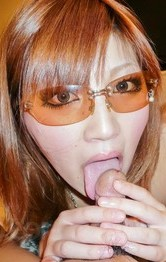 Japanese Lingerie Double Penetration - Mariko wears sun glasses while licking balls and rides woody