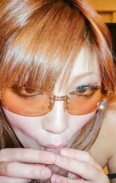 Asian Hairy Pussy Lingerie - Mariko wears sun glasses while licking balls and rides woody