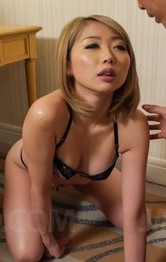 Sexy Lingerie Toys - Rui Hayakawa licks cock and has tits touched while rubbing clit