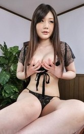 Lingerie Creampie Porn - Rie Tachikawa with big tits licks and sucks two erect penises