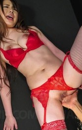 Mature Lingerie Porn - Reika Ichinose licks erect penis and gets it under red thong