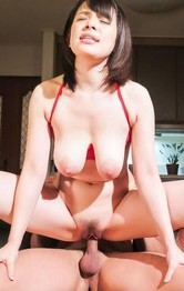 Japanese Tit Fuck Lingerie - Koyomi Yukihira in red strings sucks dong and has the ass licked