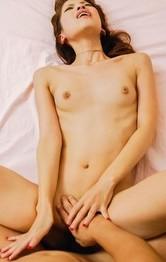 Japanese Lingerie Threesome - Karen Misaki Asian with legs over head is fucked between labia